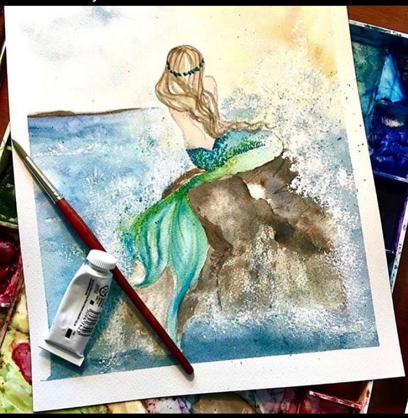 Watercolor Original vibrant Blue green mermaid 9x12