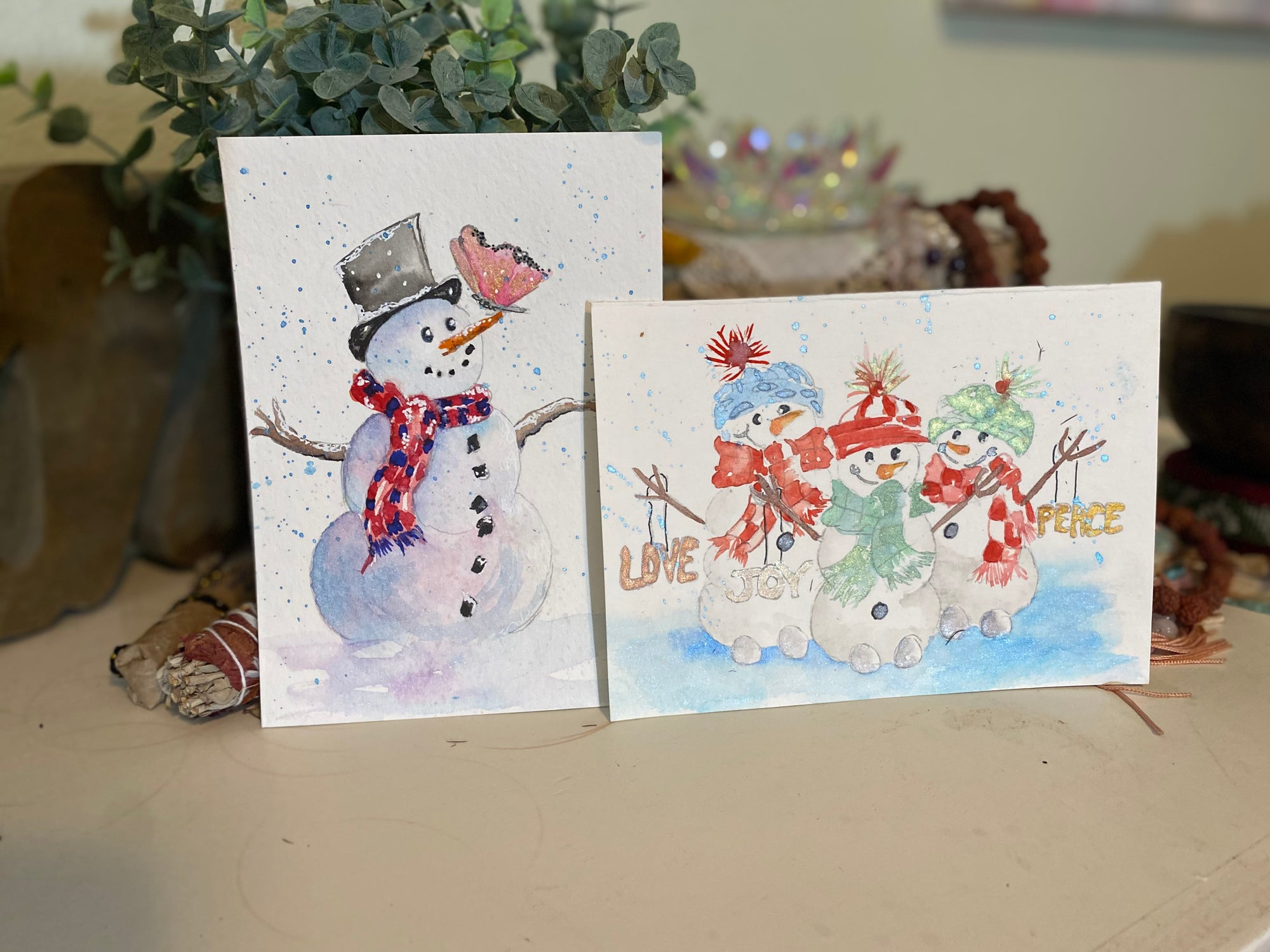 Card Snowman set of two