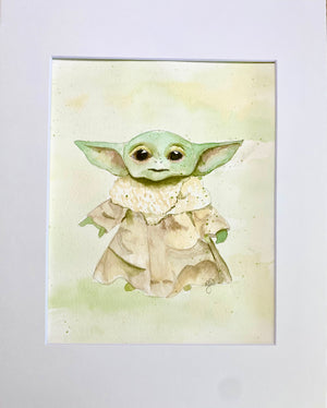 Watercolor Original Baby Yoda -The Child - Mandalorian