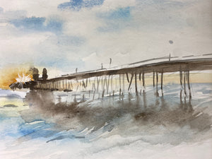 Watercolor Original San Clemente Pier