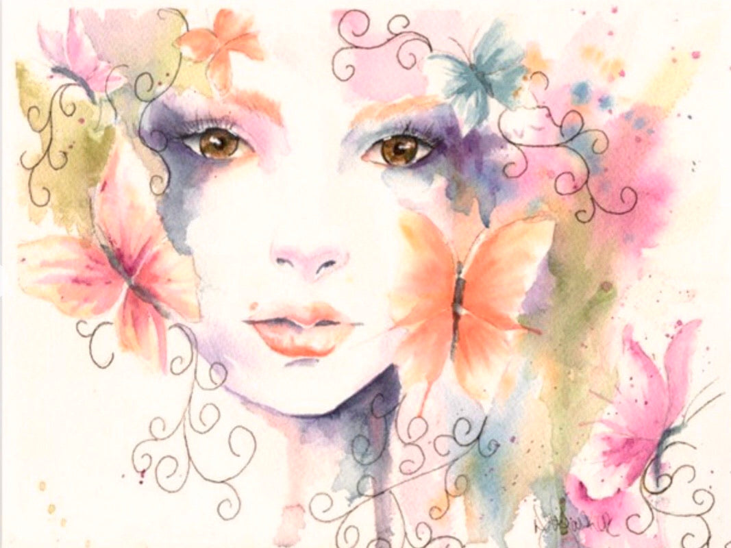 Print Watercolor Bohemian and butterflies