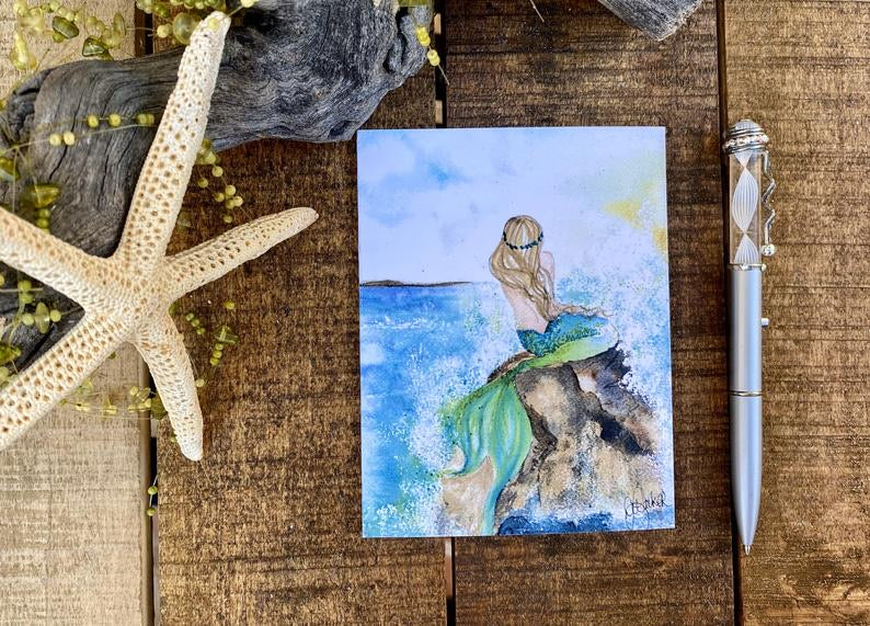 Card Mermaid in Emerald Green