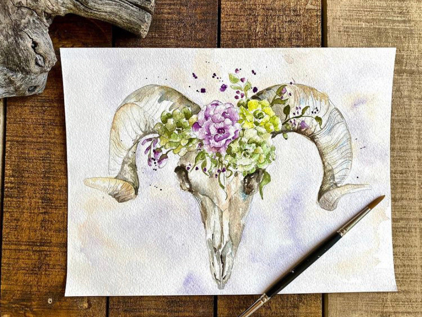 Print Watercolor Floral longhorn