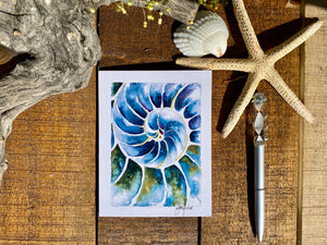 Card Nautilus Blue Seashell