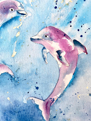 Watercolor Original Dolphins at play