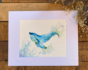 Watercolor Original Blue Whale
