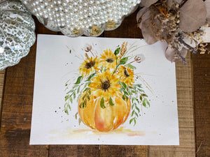 Watercolor Original Fall Pumpkin and Daisies