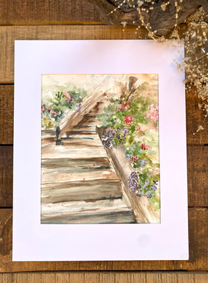 Watercolor Original Del Mar Beach Stairs