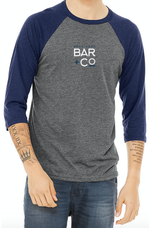 Deal Lake Bar + Co. Dark Gray & Navy Baseball Tee