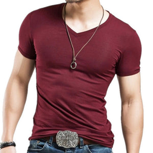 Men's oversized V-neck high stretch T-shirt