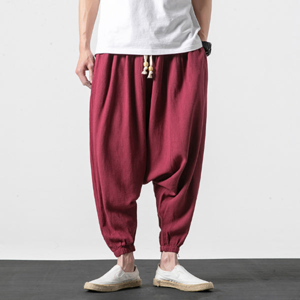 Men's cotton and linen crotch wide-leg pants