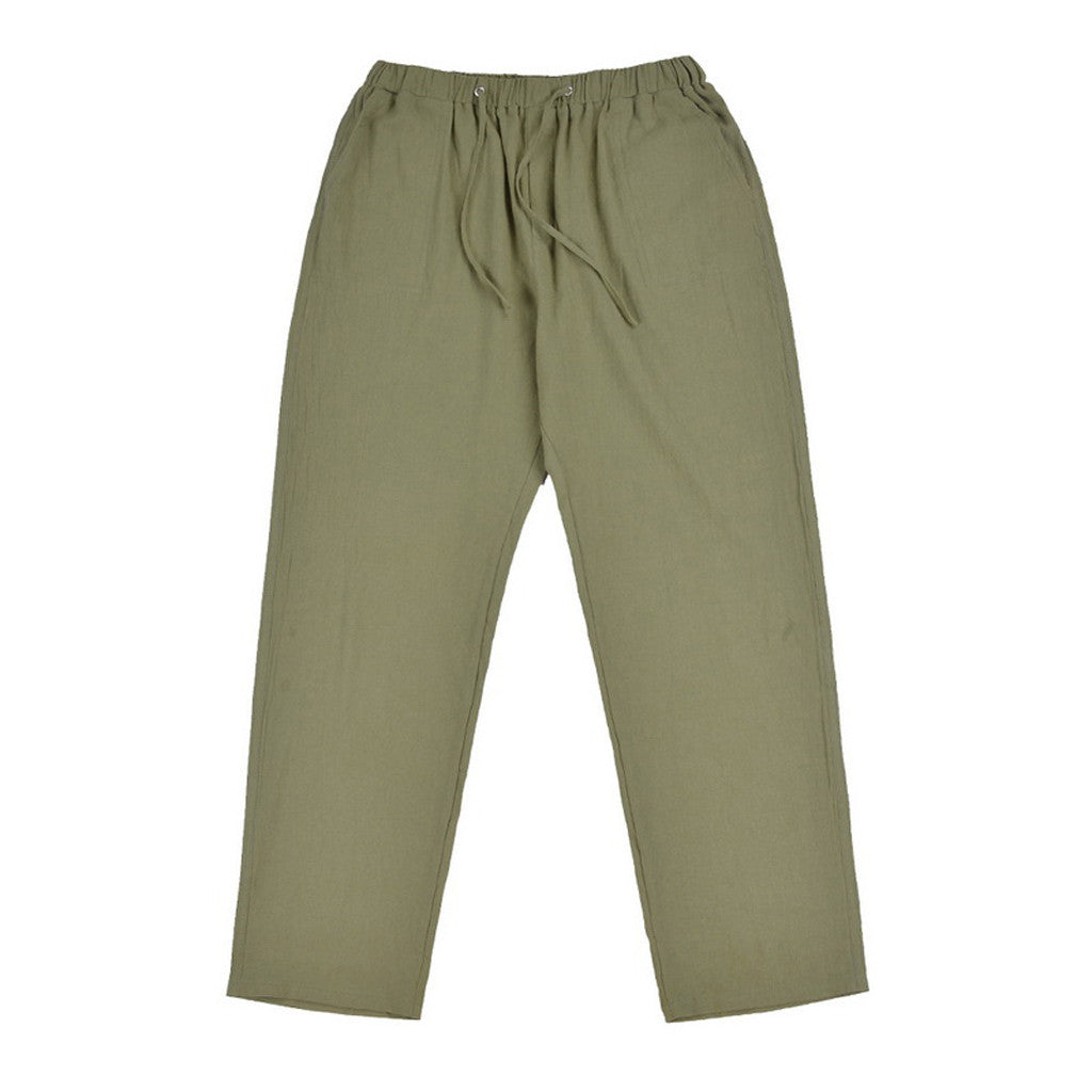 Men's linen large size pocket trousers