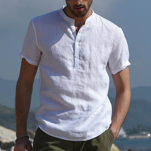 Men's Cotton Linen Breathable Stand Collar Short Sleeve Shirt