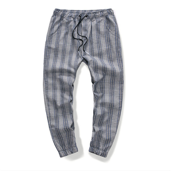 Men's plus size plaid printed twill casual pants