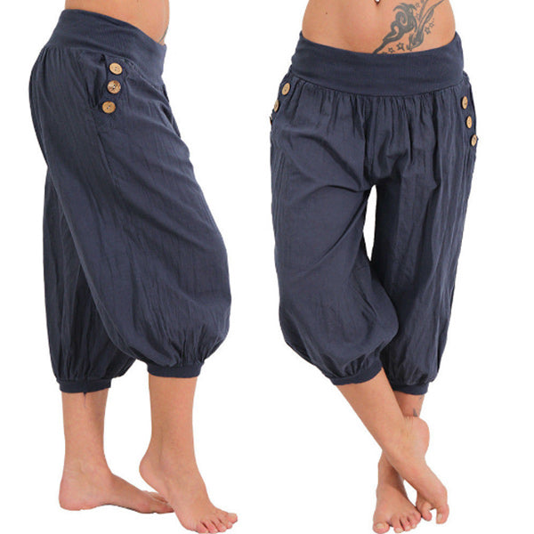 Men's national style comfortable linen cropped pants
