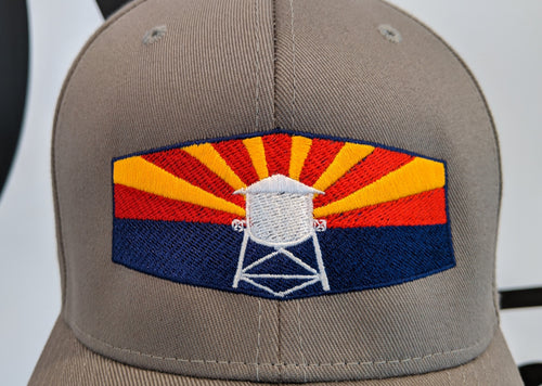 Flex-Fit Go Gilbert Hat With Water Tower & Arizona Flag.