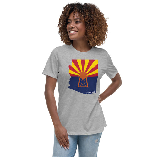 State Flag And Water Tower Women's Relaxed T-Shirt