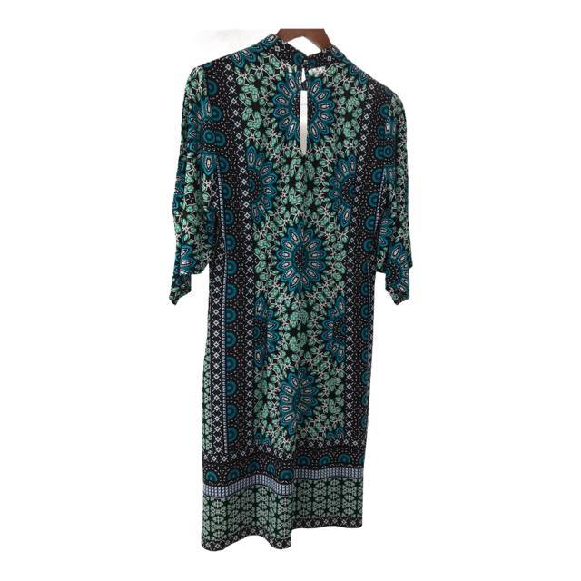 LONDON TIMES Size 10 Black/White/Teal Print 3/4 Sleeve DRESS - Christines Upscale Resale