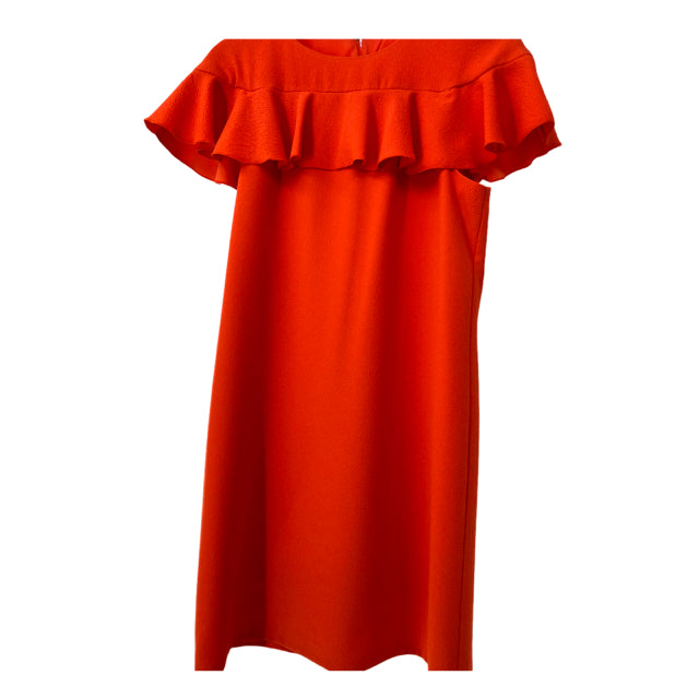 TRINA TURK Size 4 Orange Ruffle Cap Sleeve DRESS