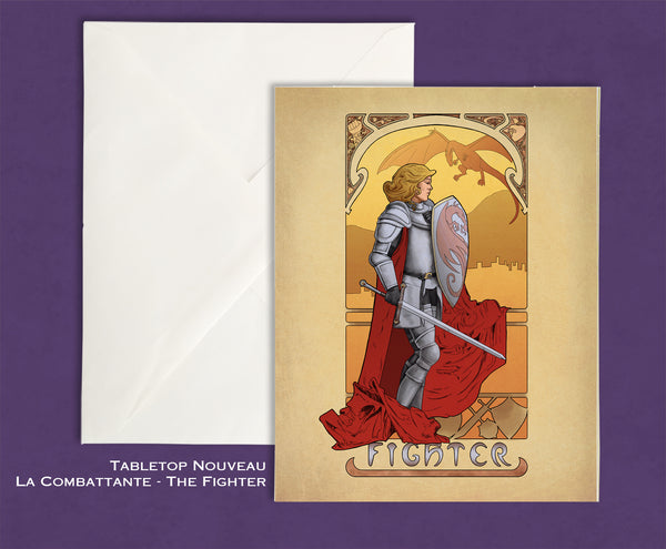 Tabletop Nouveau - La Combattante - The Fighter Greeting Card