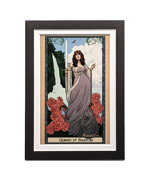 Tabletop Tarot - Queen of Swords Matted Mini Print