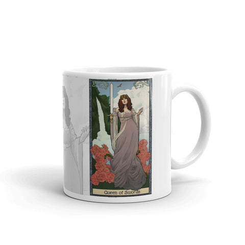 Tabletop Tarot - Queen of Swords White Mug