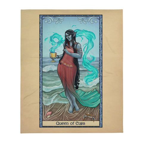 Tabletop Tarot - Queen of Cups Throw Blanket