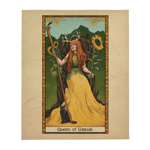 Tabletop Tarot - Queen of Wands Throw Blanket