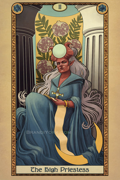 Tabletop Tarot - The High Priestess Matted Mini Print