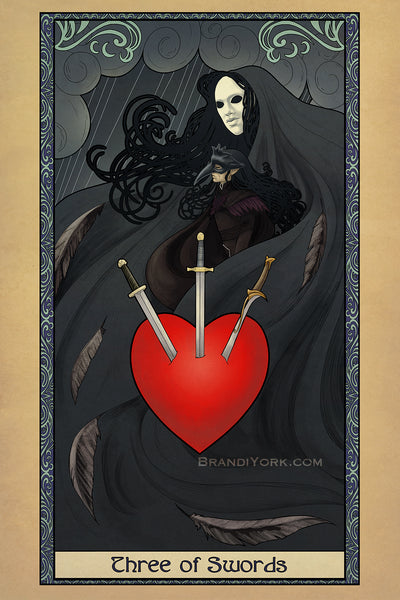 Tabletop Tarot - Three of Swords - Print