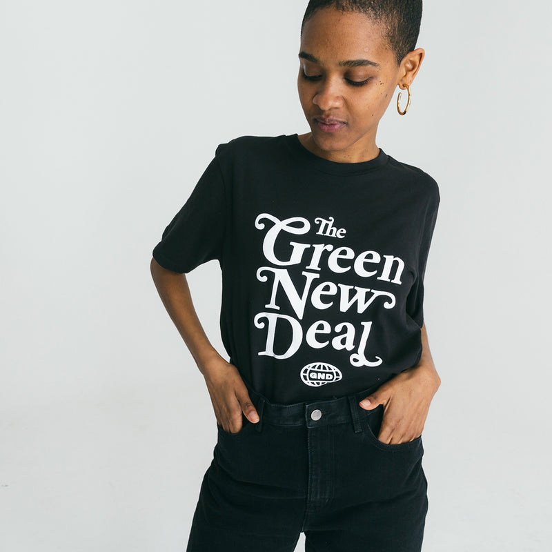 Camiseta verde negro New Deal (unisex)
