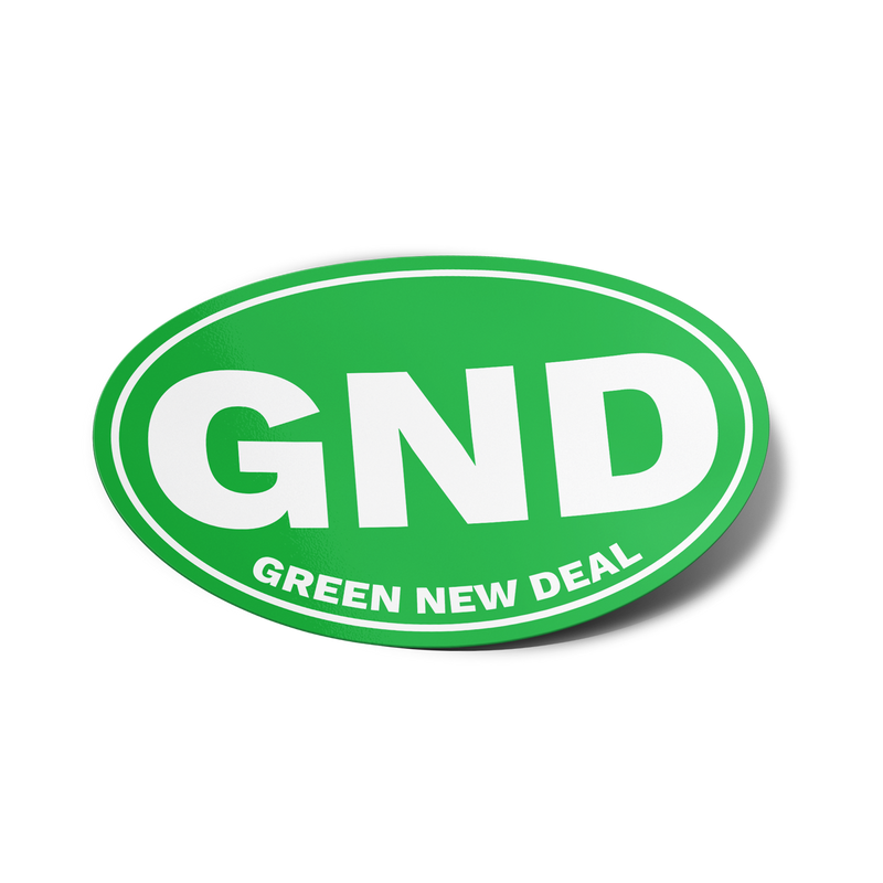 Green New Deal Oval Bumper Sticker