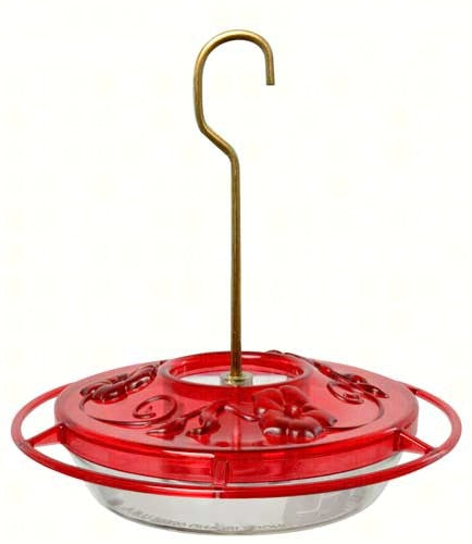 Saucer style hummingbird feeder with red top and clear bottom  8 oz