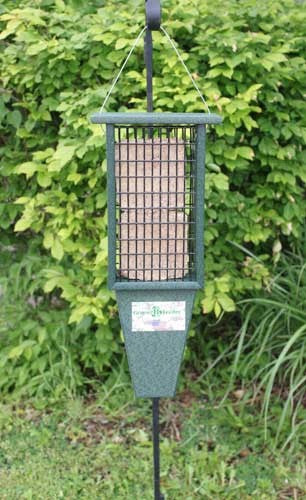Green Recycled Plastic Suet Feeder with Tail Prop.  Holds two cakes.