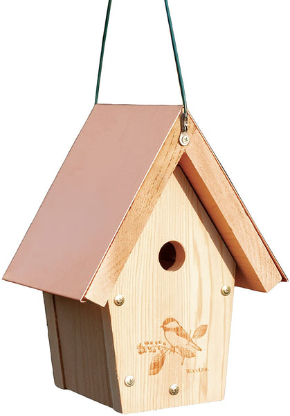 Chickadee Wren House with Copper Roof.  Etched design of Chickadee on front