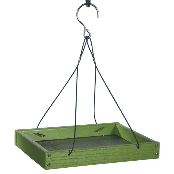 Green recycled plastic platform feeder with hanging cables
