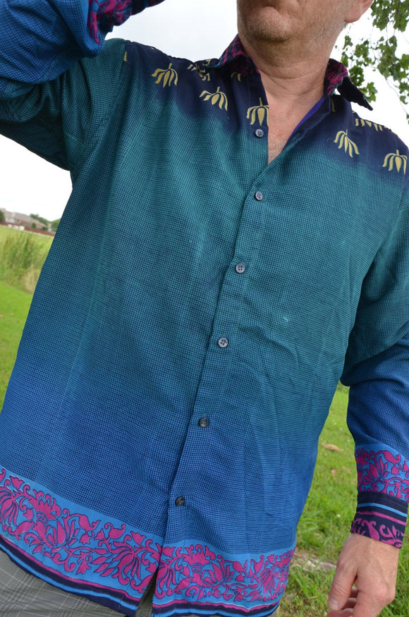 Men's Handmade Lined Sari Material Button Down Dress Shirt - Long or Short Sleeves - Fading Teal Blue Check - Ryker I885