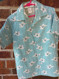 Unisex Youth Organic Cotton Button Down Dress Shirt - Storybook Theme - Bunny on Aqua Stripe - Goodnight Moon 3106