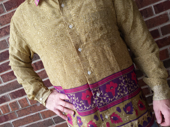 Tan Paisley Men's Handmade Lined Sari Material Long Sleeves Button Down Dress Shirt - Size Medium - Purple Accent - Lennox I906