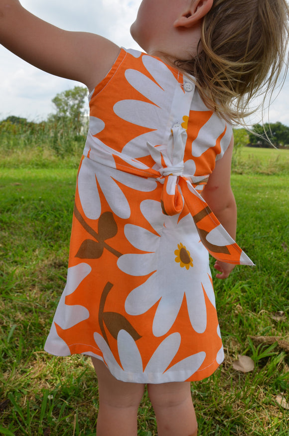 Baby or Toddler Girl's Handmade Organic Cotton Sleeveless Summer Dress - Big White Daisies on Orange - Daisy 3163