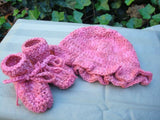 Wool Blend, Hand Painted Newborn Girls Ruffle Hat and Matching Bootie Set - Taffy 498