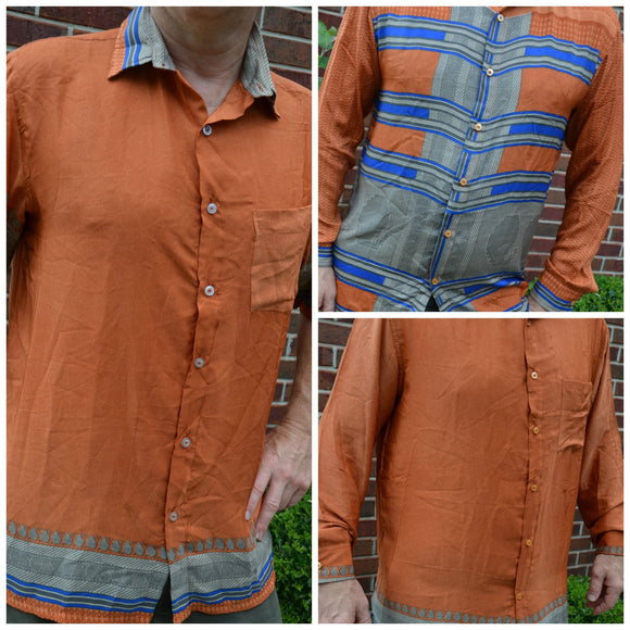 Men's Handmade Sari Silk Button Down, Short or Long Sleeve Dress Shirt - Rust with Blue Stripe Accents - Medium or XL - Hayden I868
