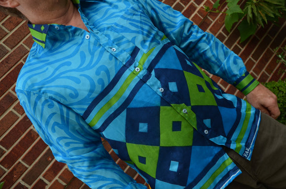 Aqua Men's Handmade Lined Sari Silk Long Sleeve Button Down Dress Shirt - Turquoise Blue Swirl Geometric - Size Medium - Turin I889