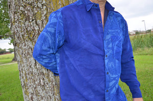 Beautiful Blue Men's Handmade Lined Sari Material Button Down Dress Shirt - Cascading Royal - Short Sleeves - Medium - Sambo I887