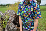 Unisex Youth Handmade Organic Cotton Short Sleeve Button Down Shirt - Navy with Bright Colorful Snails - Escargot 3168