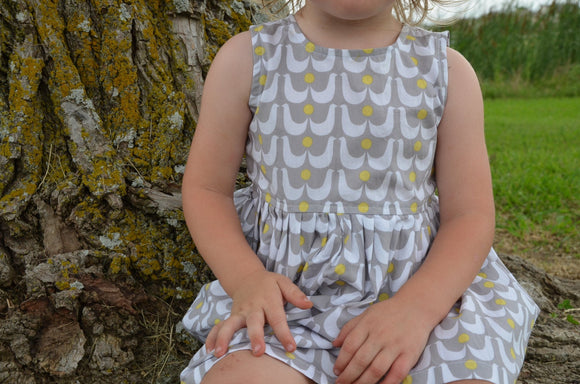 Toddler Girls Handmade Organic Cotton Sleeveless Summer Dress - Grey with White Birds - Love Doves 3165