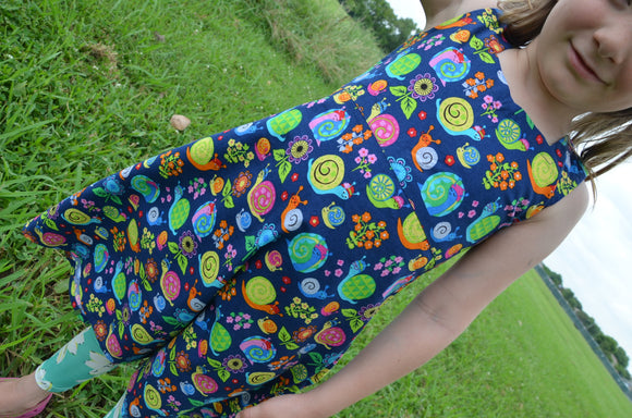 Toddler and Youth Girls Handmade Organic Cotton Sleeveless Dress - Navy with Bright Colorful Snails - Escargot 3167