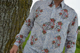 Best Selling Men's Lightweight Hand Block Printed Indian Cotton Long Sleeve Button Down Shirt - White Floral - Regular Tall - Champei I876/J978