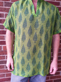 Handmade Unisex V Neck Lined Indian Chiffon Dress Shirt or Scrubs - Banded Collar - Green Trees - Dion H848
