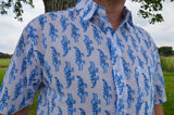 Men's Animal Hand Block Printed Indian Woven Cotton Short Sleeve Button Down Pocket Shirt - All Sizes - Crocodile Crossing I866